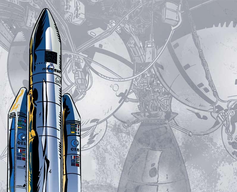 La belle fusée Ariane avec en fond un dessin de ses puissants moteurs. Un dessin scientifique avec un style bande dessinée.